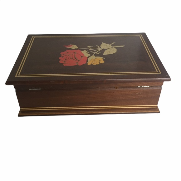 Vintage Dunston Wooden Inlaid Rose Jewelry Box